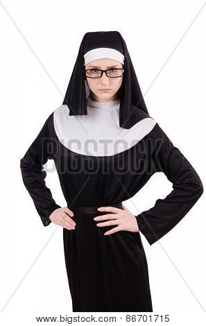 Young serious nun isolated on white