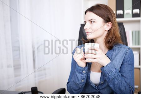 Businesswoman Sitting Thinking