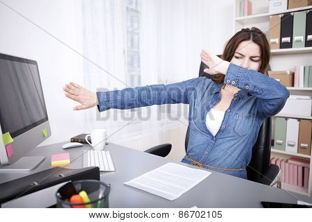 Stressed Businesswoman Reaching Breaking Point