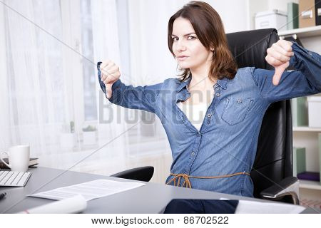 Businesswoman Giving An Emphatic Thumbs Down
