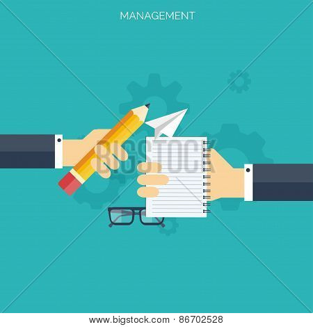 Flat management concept background. Teamwork concept. Global communication and working expierence. B