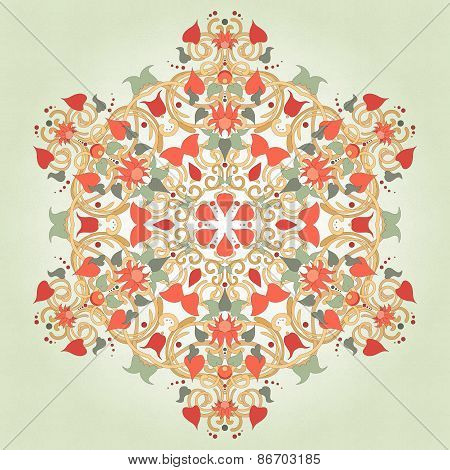 Background With A Round Floral Delicate Ornament