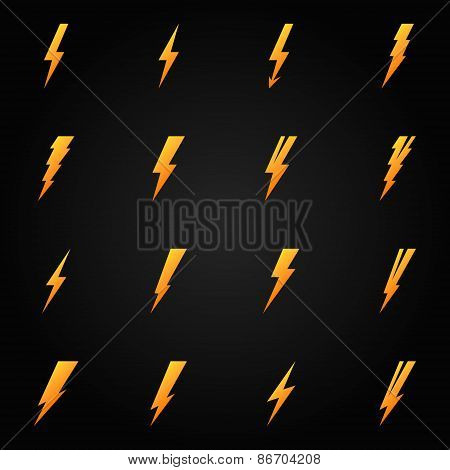 Lightning icons gold vector set