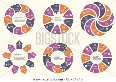 Vector infographic template for cycling diagram, graph, presentation and round chart