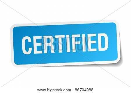 Certified Blue Square Sticker Isolated On White