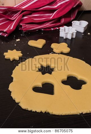 Rolled out pastry with cutted heart