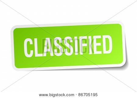 Classified Green Square Sticker On White Background