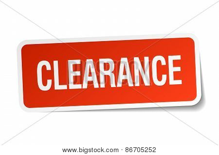 Clearance Red Square Sticker Isolated On White