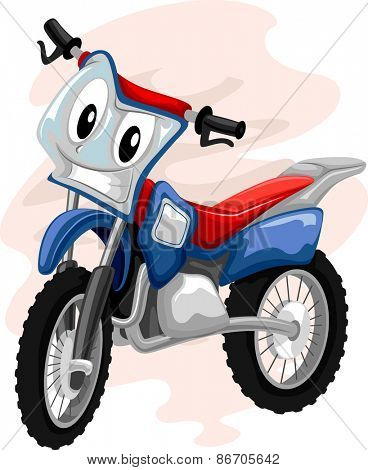 Mascot Illustration of a Motocross Bike Grinning Mischievously