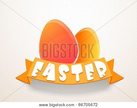 Happy Easter celebration with colorful glossy eggs and orange ribbon on abstract bakground.