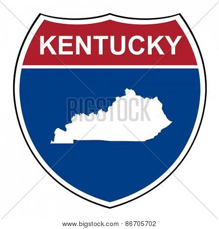 Kentucky American interstate highway road shield isolated on a white background.