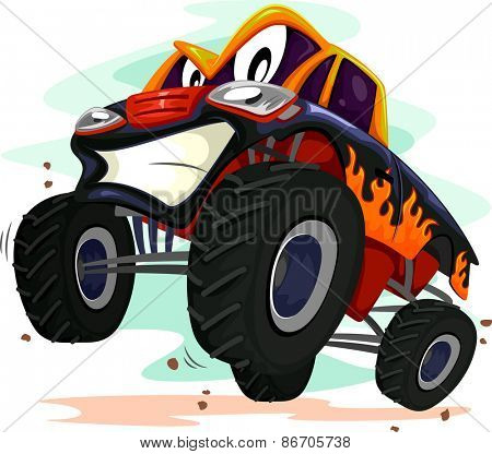 Mascot Illustration of a Monster Truck Revving Furiously