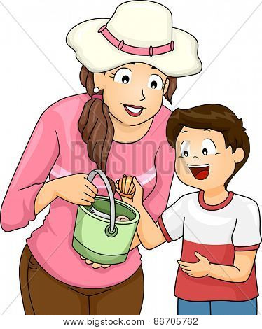 Illustration of a Little Boy Picking Seashells with His Mom
