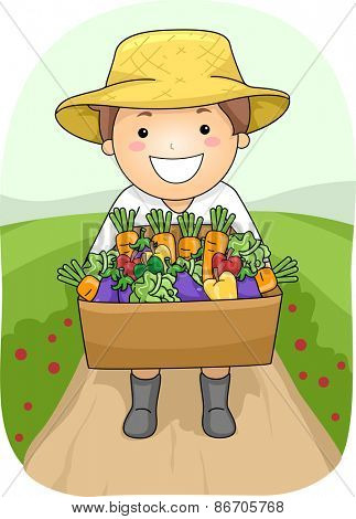Illustration of a Boy Carrying a Wooden Box Full of Vegetables
