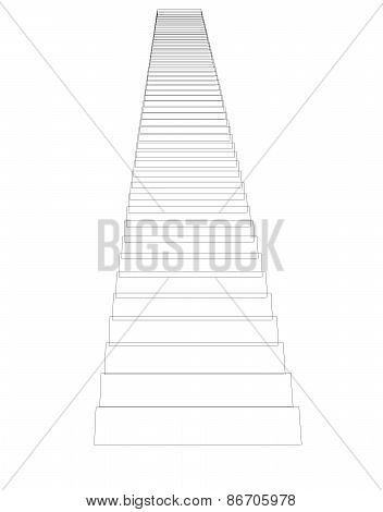 Wire-frame stairs. Isolated. Promotion concept