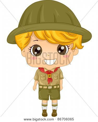 Illustration of a Little Boy Wearing a Boy Scout Uniform