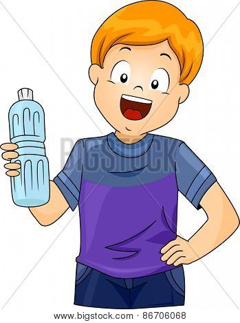 Illustration of a Little Boy Holding a Plastic Bottle of Water