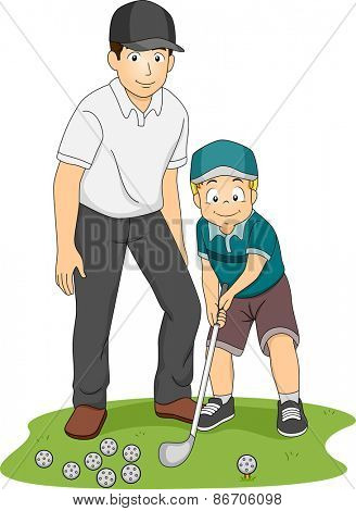 Illustration of a Kid Receiving Golf Lessons from His Coach