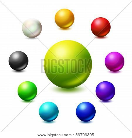 All colors and monochrome spheres illustration