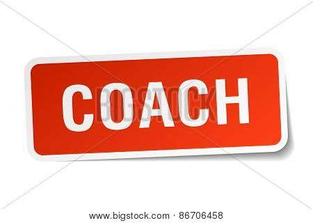 Coach Red Square Sticker Isolated On White