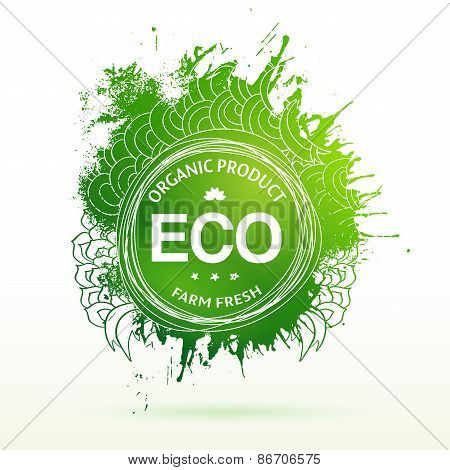 Eco product drawing splash elements label