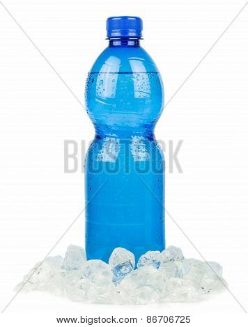 A blue bottle of mineral water and ice
