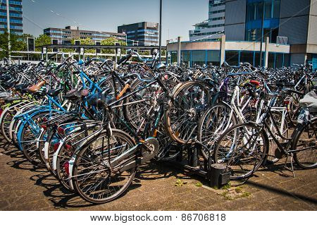 Bicycle parking in Eindhoven city central station