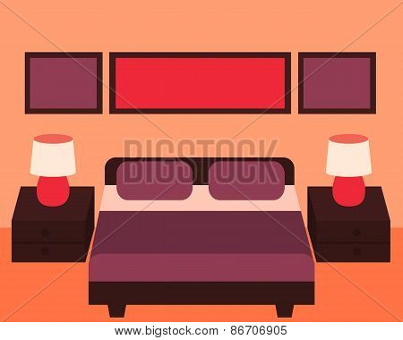 Interior of modern bedroom with furniture. Vector illustration