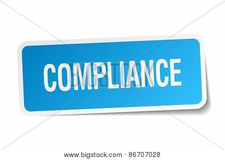 Compliance Blue Square Sticker Isolated On White