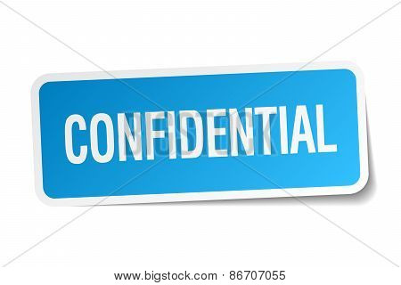 Confidential Blue Square Sticker Isolated On White