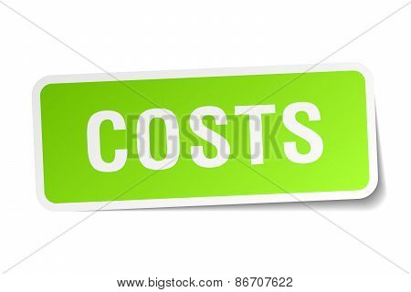 Costs Green Square Sticker On White Background