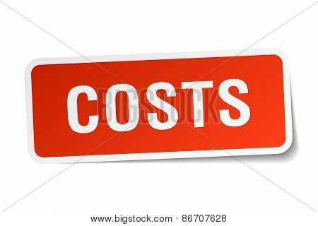 Costs Red Square Sticker Isolated On White