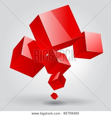 Abstract template with red cubes