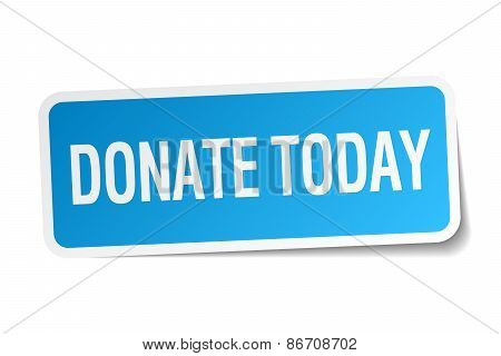 Donate Today Blue Square Sticker Isolated On White