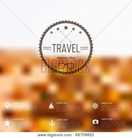 Summer abstract blurred,defocused background with travel label. Holidays,sea.