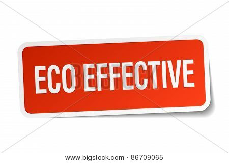 Eco Effective Red Square Sticker Isolated On White