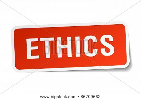 Ethics Red Square Sticker Isolated On White