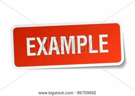Example Red Square Sticker Isolated On White