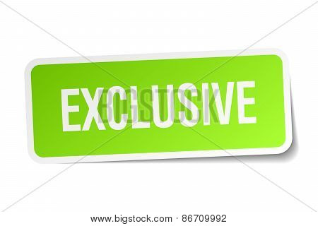 Exclusive Green Square Sticker On White Background