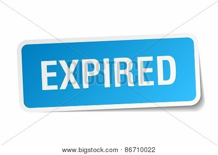 Expired Blue Square Sticker Isolated On White