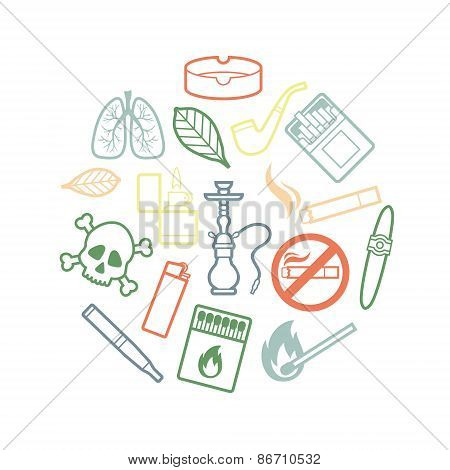 Circle set of inline smoking icons
