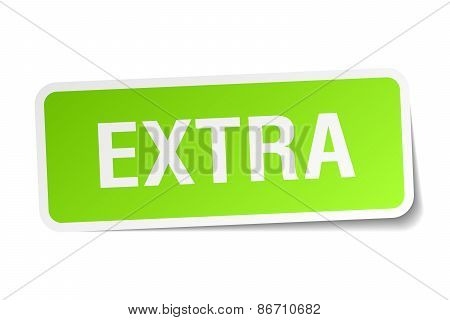 Extra Green Square Sticker On White Background