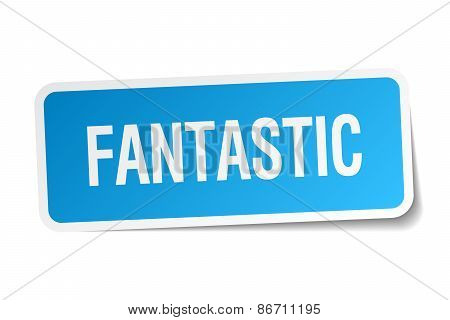 Fantastic Blue Square Sticker Isolated On White