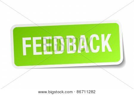 Feedback Green Square Sticker On White Background
