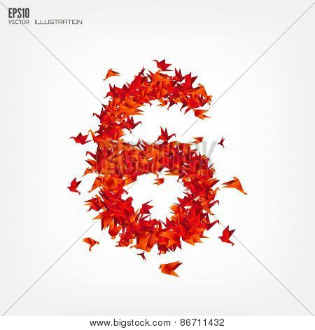 Number 6. Numbers with origami paper bird on abstract background
