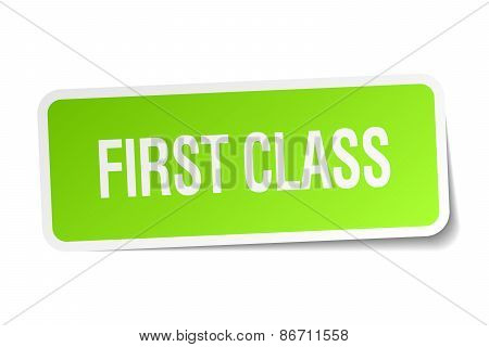 First Class Green Square Sticker On White Background