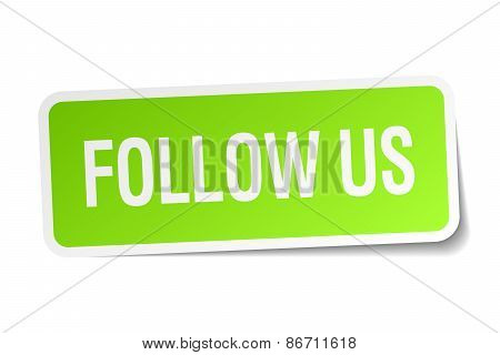 Follow Us Green Square Sticker On White Background