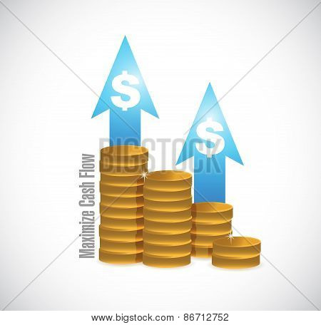 Maximize Cash Flow Coins Graph Illustration