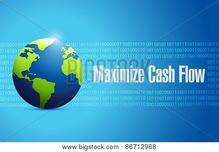 Maximize Cash Flow Globe Sign Illustration Design