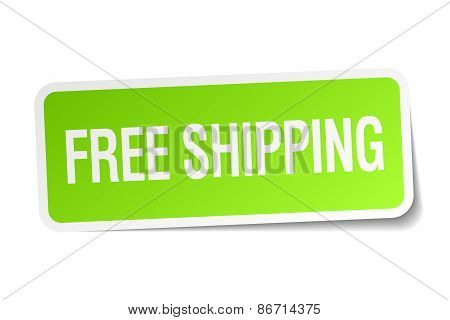 Free Shipping Green Square Sticker On White Background